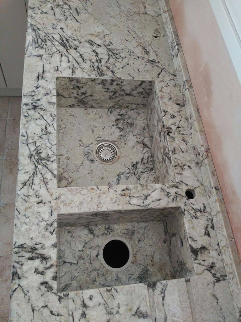 Sensa granite countertop ice blue with integrated sinks same granite marbrestone d - Encimeras granito precios ...