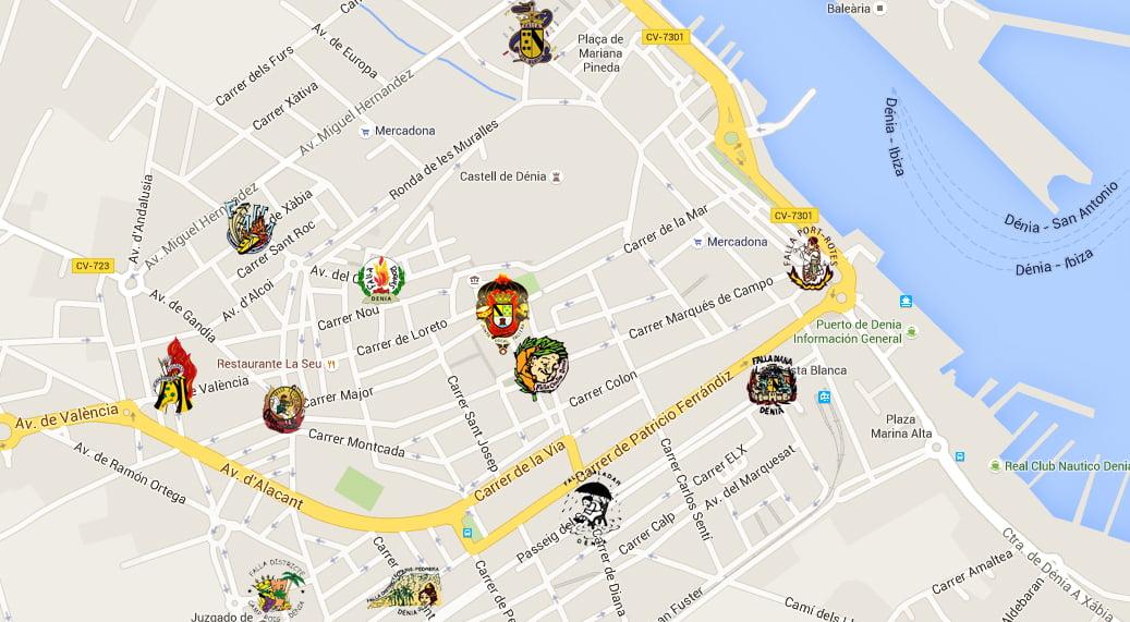 Mapa Fallas Valencia 2019.Plano De Las Fallas De Denia Denia Com