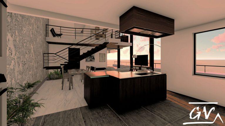 Interior de una casa en Altea Hills, con el atardecer al fondo - GV Arquitecnia