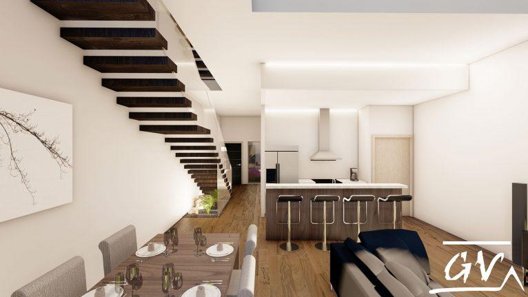 Housing between party walls in Museros (Valencia), an interior design project by de GV Arquitecnia