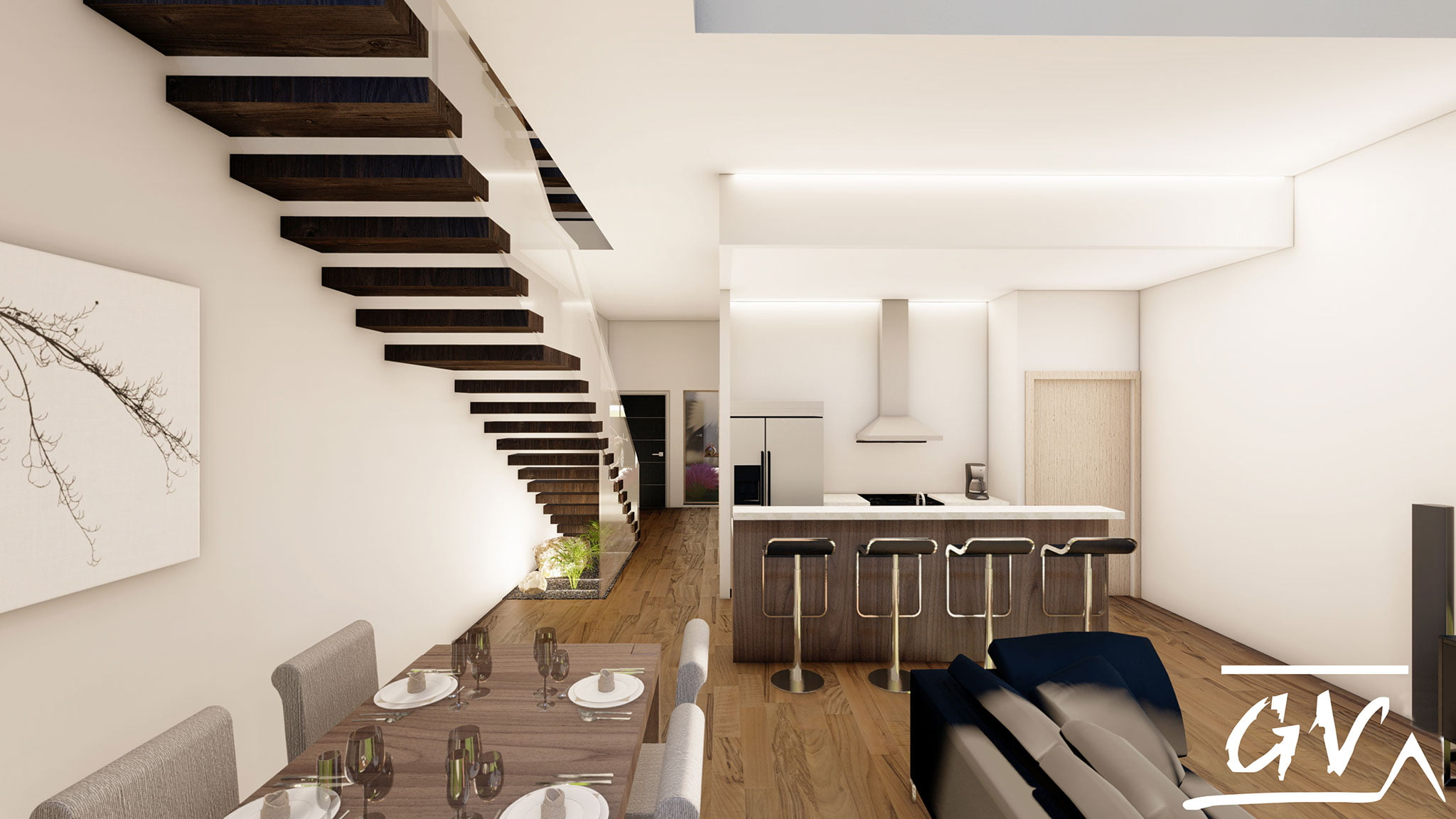 Housing between party walls in Museros (Valencia), an interior design project by de GV Arquitecnia