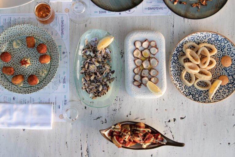 Tellinas, pulpo seco y calamares - Restaurant Noguera