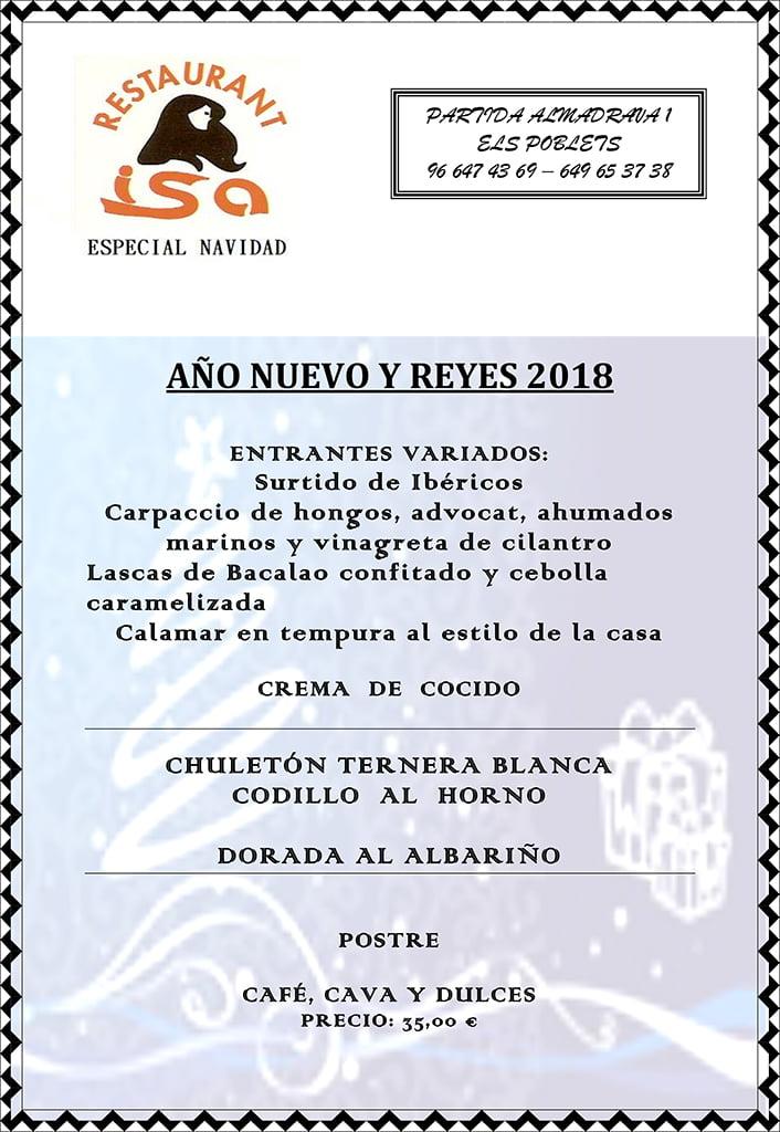 Menú de año nuevo y reyes de Restaurante Isa