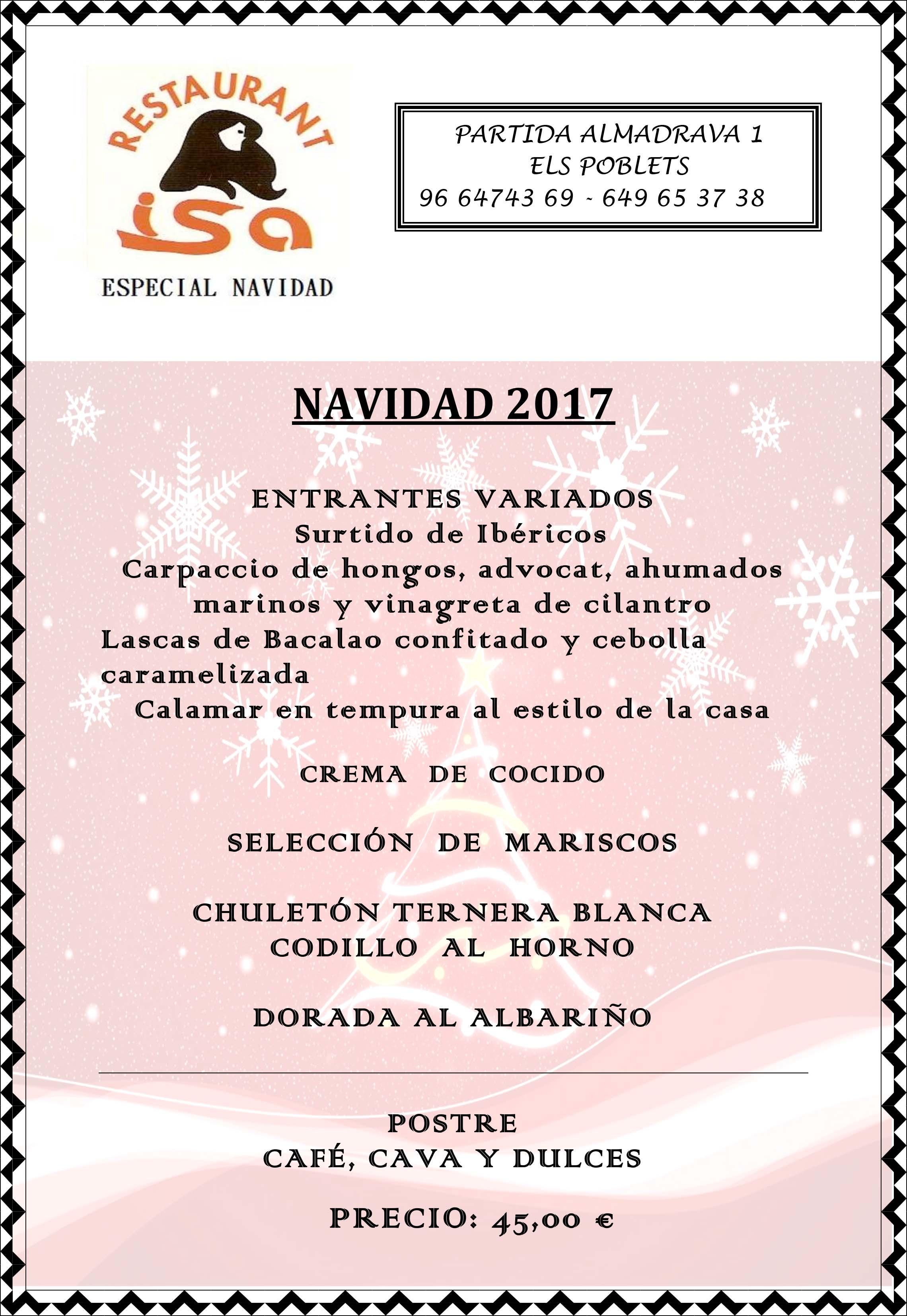 Menu de Navidad Restaurante Isa 2017