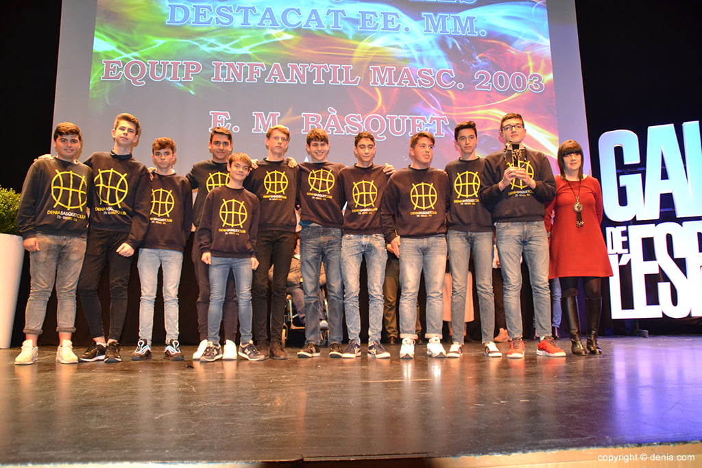 Equipo infantil masculino de la EM Dénia Básquet