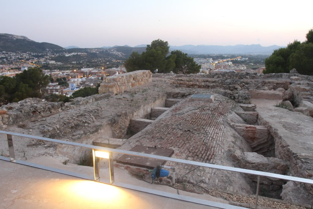 Route at sunset through the Castle of Dénia - remains of the palace