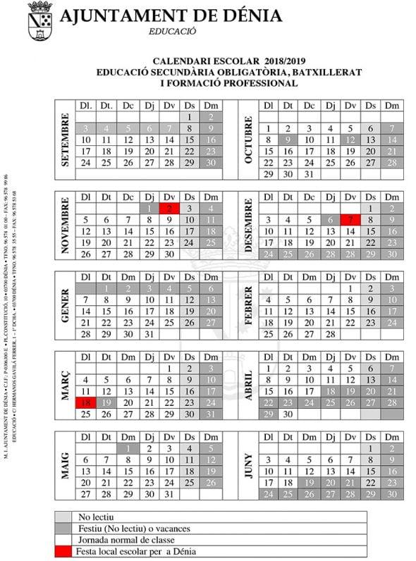 Calendario Escolar 2020 2020 Comunidad Valenciana.El Calendario Escolar Para El Curso 2018 2019 De Denia Incluye Tres