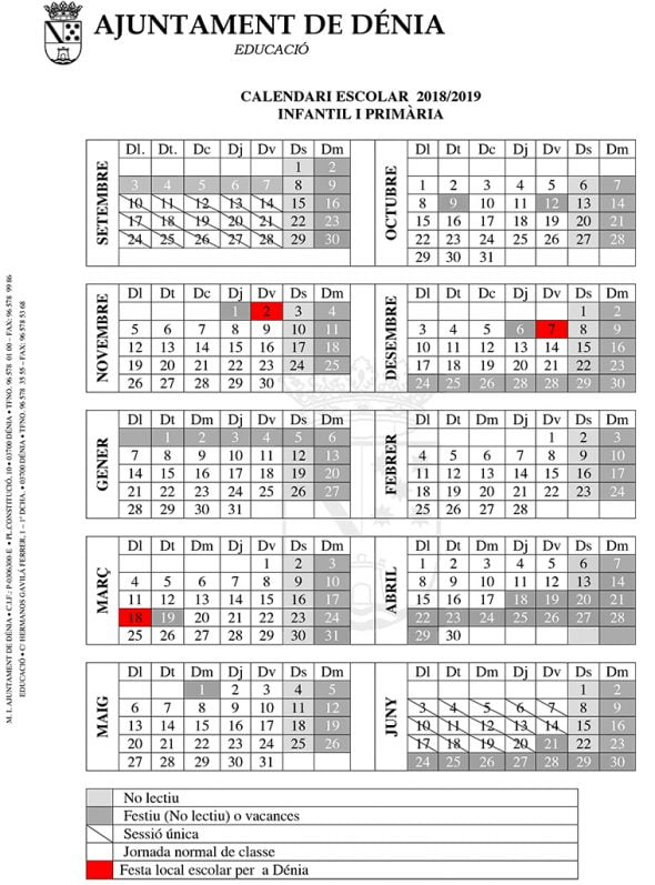 Fallas 2020 Calendario.El Calendario Escolar Para El Curso 2018 2019 De Denia Incluye Tres
