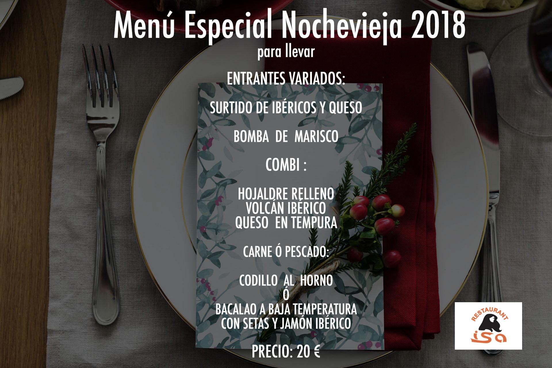 Menú Especial Nochevieja para llevar Restaurante Isa