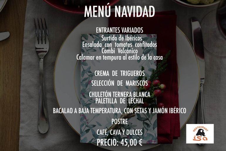 Menú de Navidad Restaurante isa
