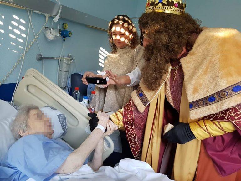 Gaspar greets a patient at the Hospital de La Pedrera