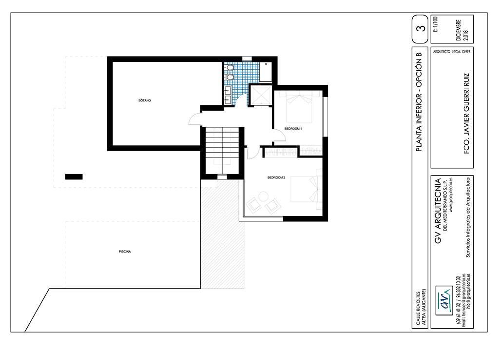 Planta inferior Opción B GV Arquitecnia