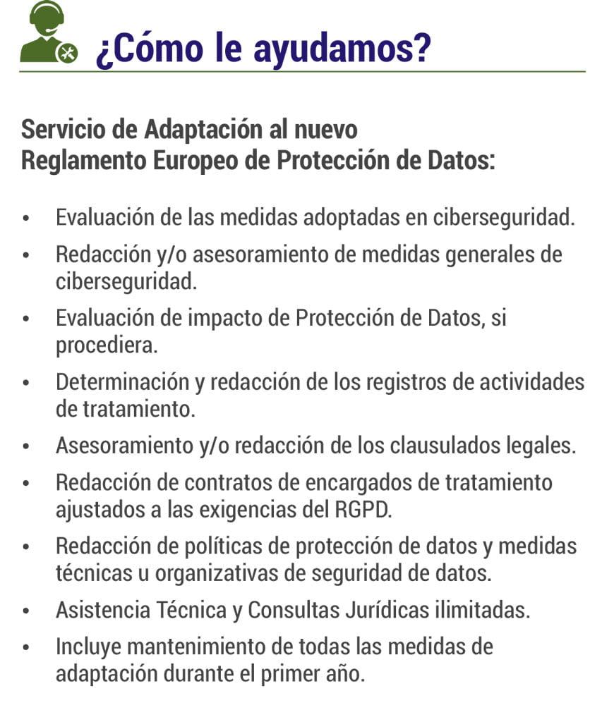 Servicio de adaptación Reglamento Europeo Protección de Datos