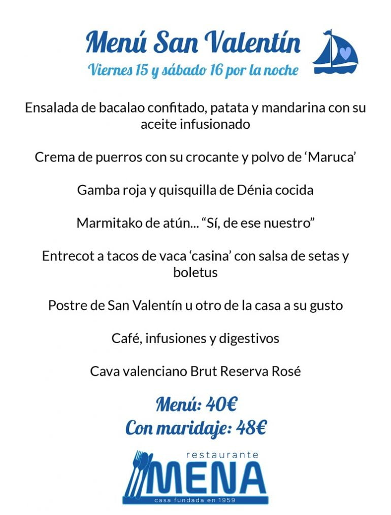Menú especial Sant Valentí Restaurant Mena