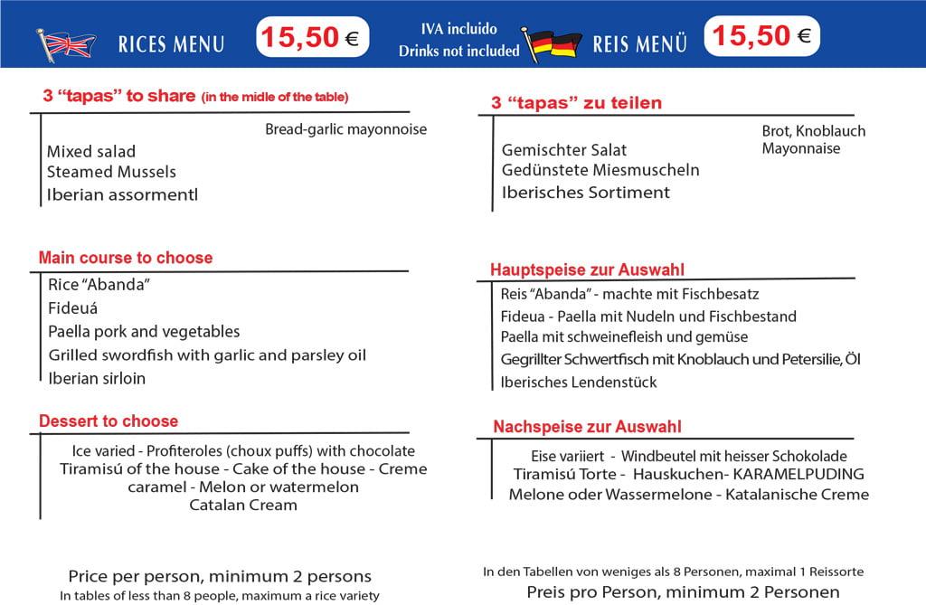 Menú de arroces Dénia Restaurante L'anfora