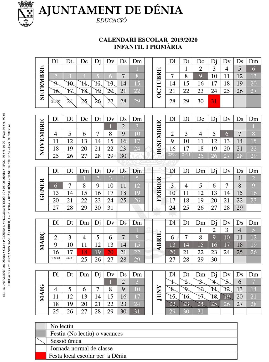 Fallas 2020 Calendario.Calendario Escolar 2019 2020 Infantil Denia Com
