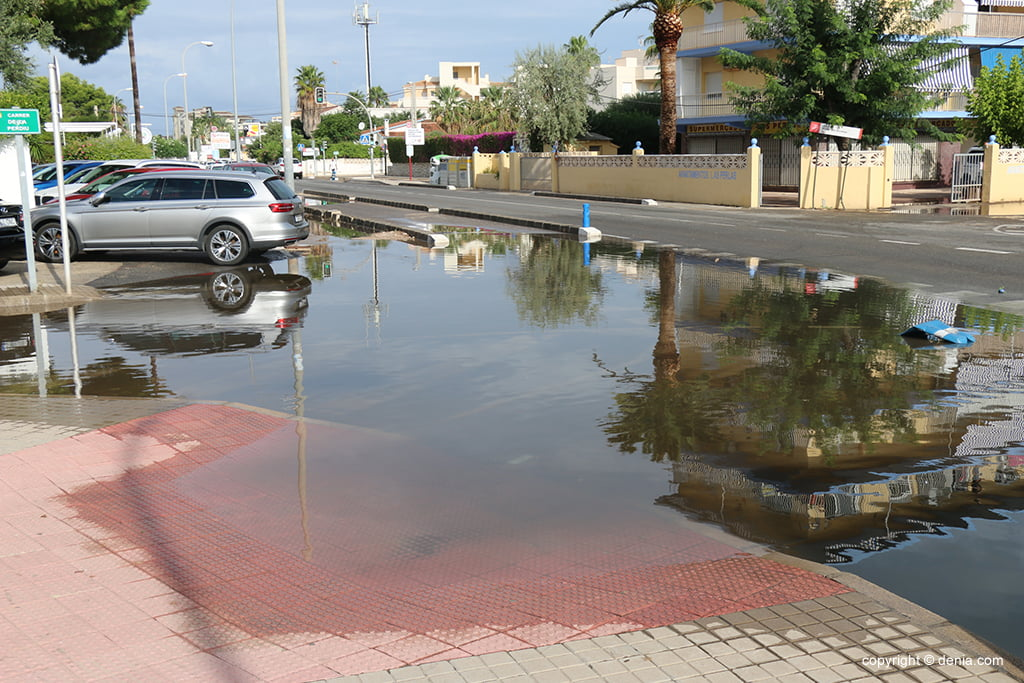 The consequences of rain and storm in Dénia - Waterlogged areas in Las Marinas