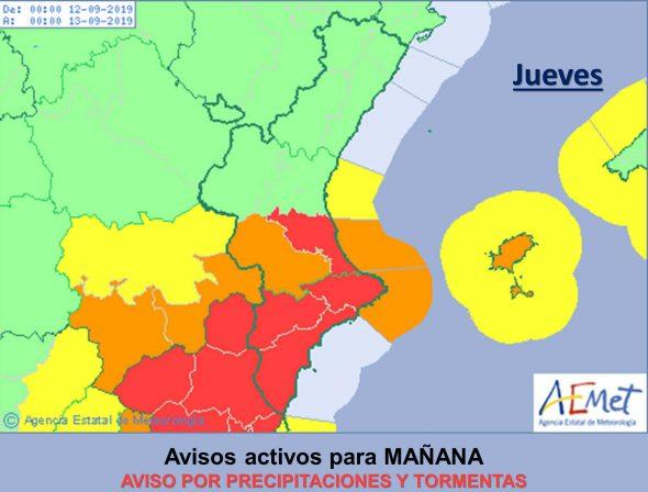 Immagine: allarme rosso per forti piogge nella Marina Alta