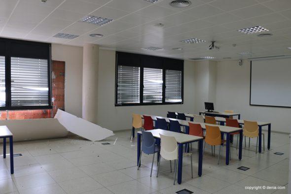 Imagen: Aula del CdT tras el paso de la DANA