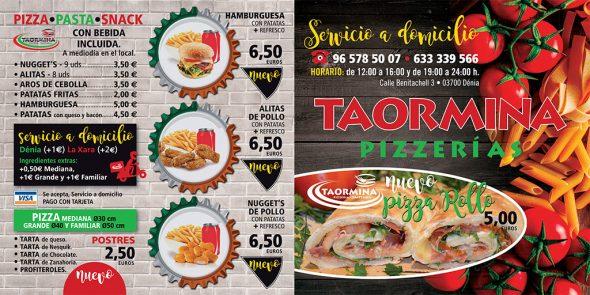 Imagen: Carta de pizzas en Dénia - Taormina