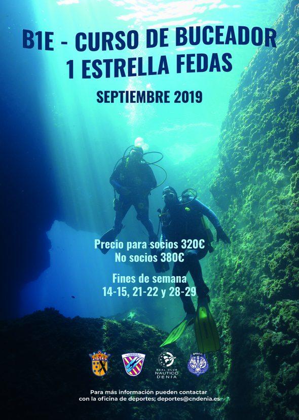 Imagen: Cartel curso de buceo del Real Club Náutico Dénia
