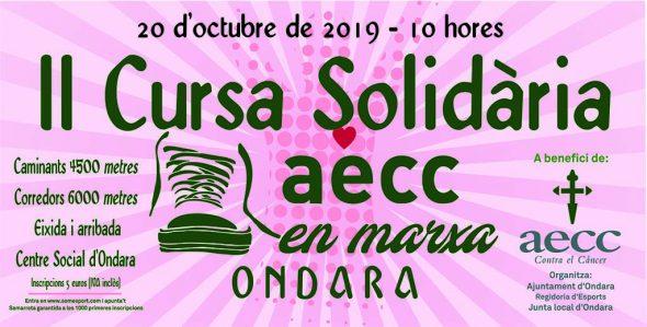 Imatge: Cartell de la Cursa Solidària AECC Ondara 2019
