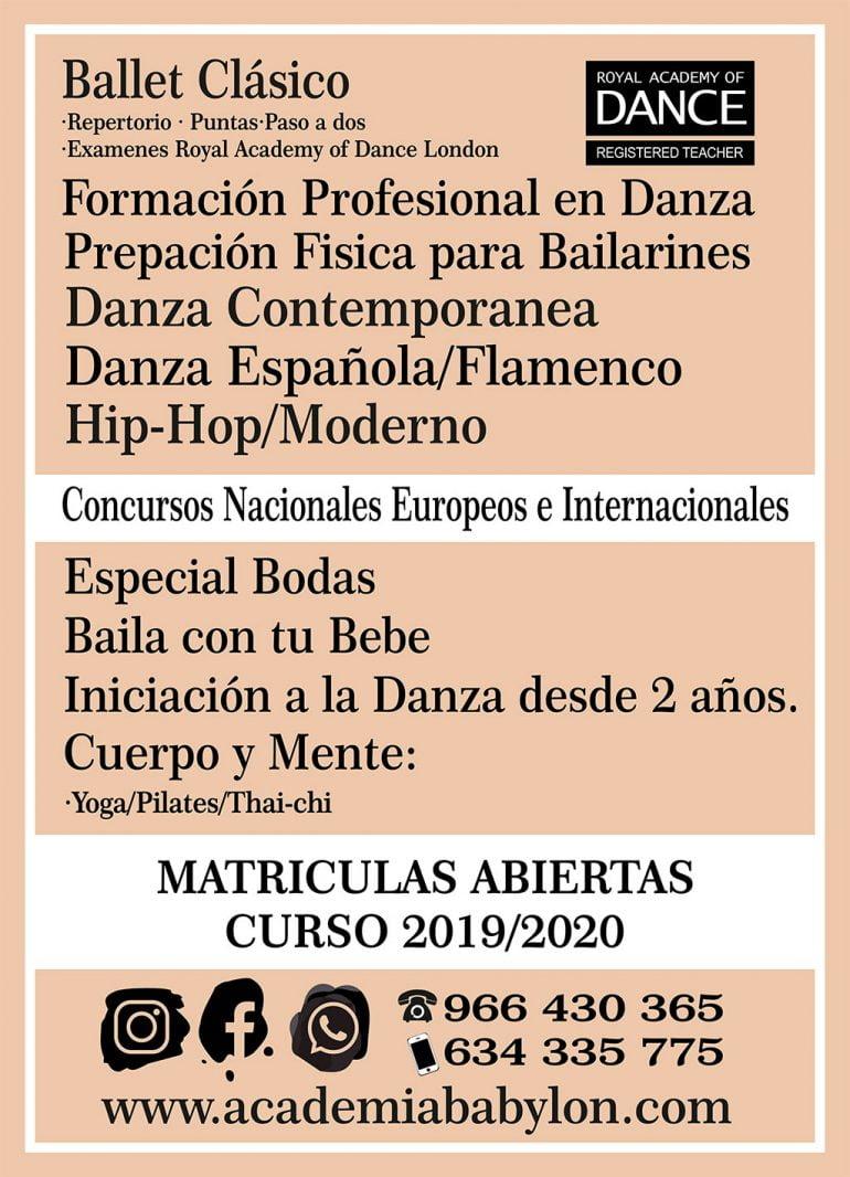 Cartell de matrícula oberta per al curs 2019-2020 a Babylon Escola de Dansa
