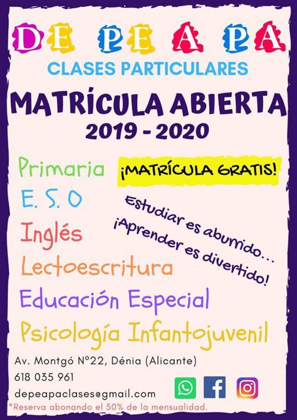 Imagen: Cartel de matrícula abierta de clases particulares en Dénia - De Pe A Pa Clases Particulares