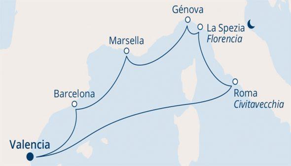 Imagen: Ruta del crucero de ocho días de Falken Tours
