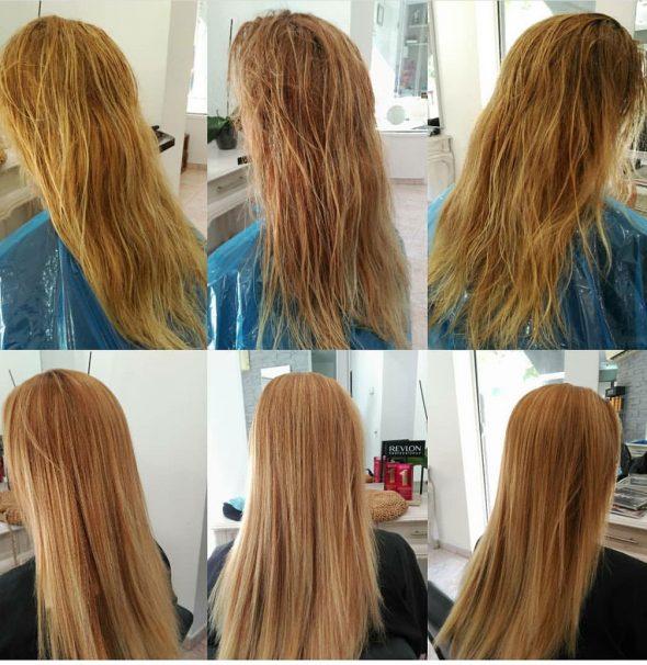 Imatge: Abans i després del allisat de Belma Kosmetik - Dorita i Inma Estilistes