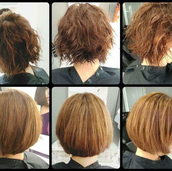 Imatge: El pèl encrespat abans del tractament i els resultats després del allisat de Belma Kosmetik - Dorita i Inma Estilistes