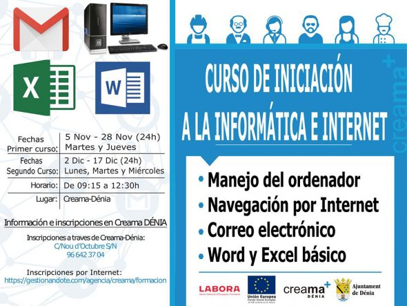 Image: Poster course for computer and Internet initiation
