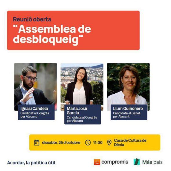Imagen: Cartel de la reunión abierta de Compromís