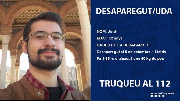Изображение: исчезает молодой человек из Марина Альта в Лериде