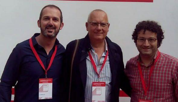 Immagine: Jordi Serra con Vicent Grimalt e Óscar Mengual