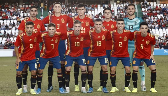 Image: Pepelu in the initial eleven of the Spanish Sub 21 National Team with the 14 number
