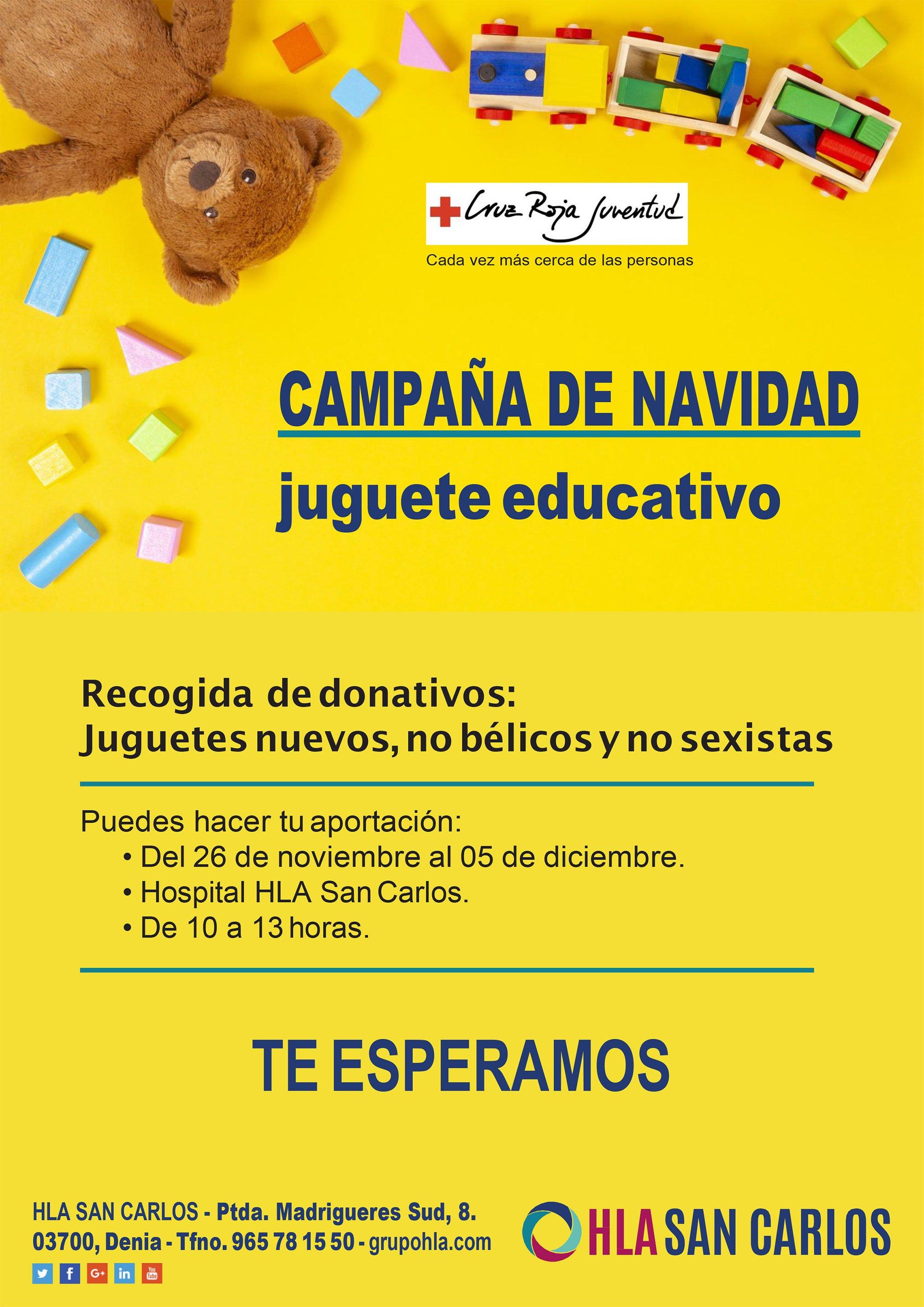 HLA San Carlos et Cruz Roja Dénia campagne de collecte de jouets
