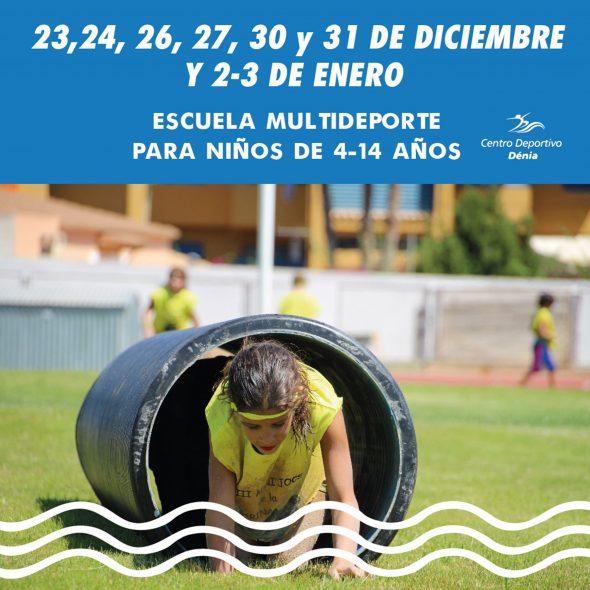 Imagen: Cartel informativo de la Escuela Multideporte de Centro Deportivo Dénia para esta Navidad