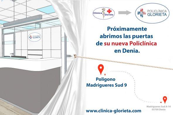 Imagen: Cartel sobre la ubicación y las instalaciones de Policlínica Glorieta