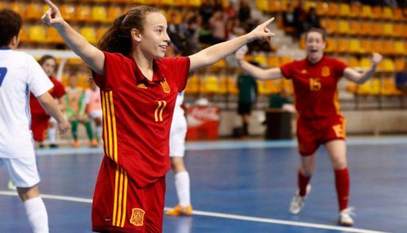 Imagen: Celebrando un gol la Selección Española Sub 19 de fútbol sala