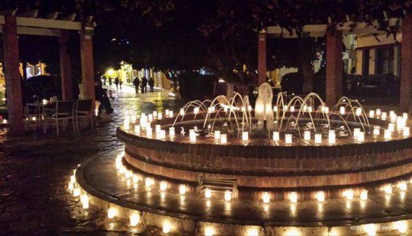 Image: Le rond point décoré pour La Nit de la Llum