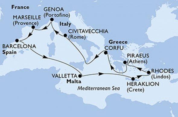 Imagen: Mapa MSC Poesia - Falken Tours