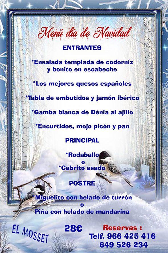 Imagen: Menú para el Día de Navidad en Dénia - El Mosset