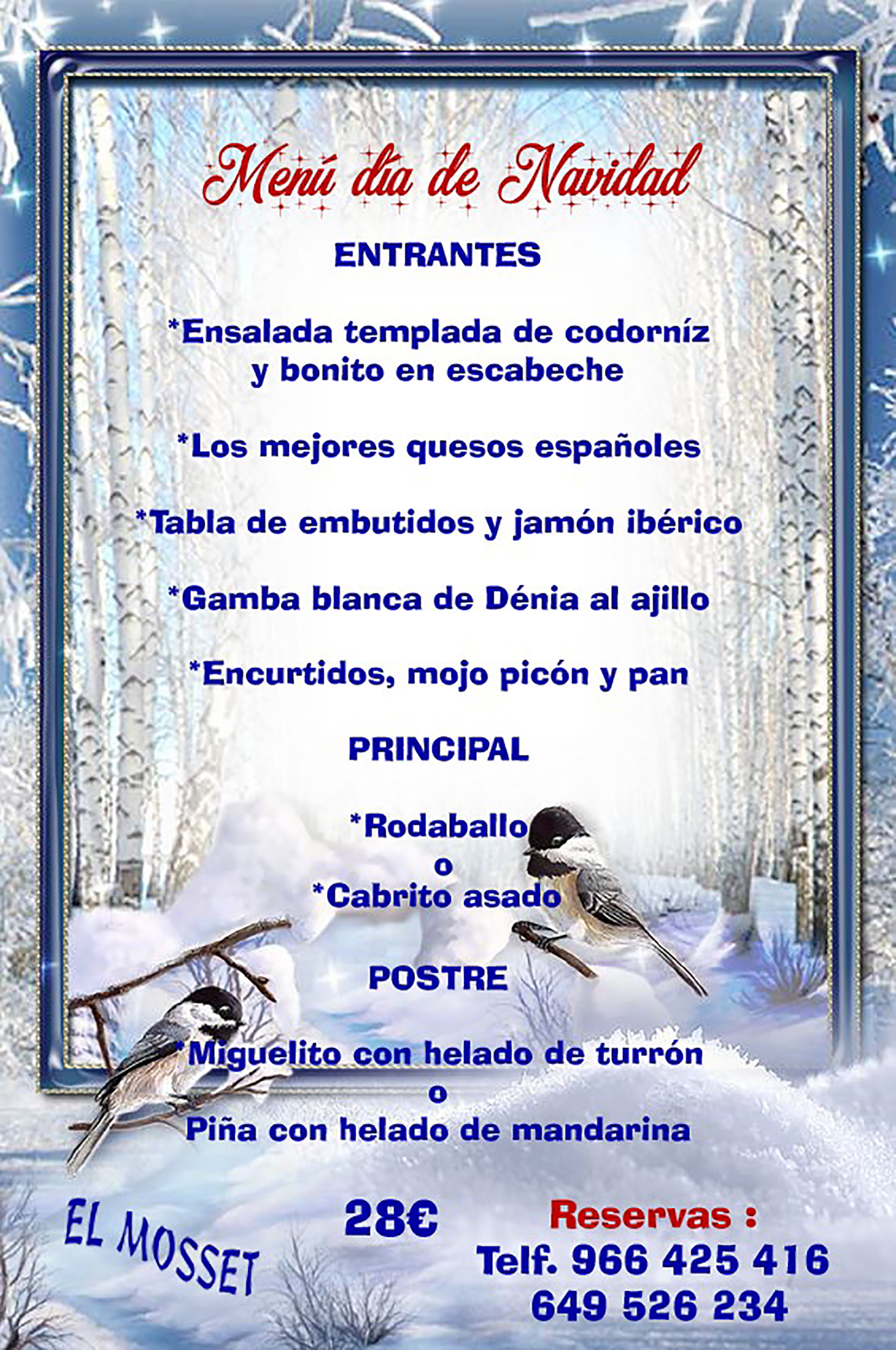 Menu for Christmas Day in Dénia - El Mosset