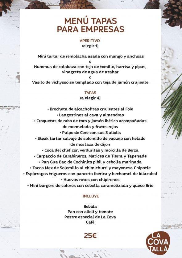 Imagen: Menú de empresa compuesto por tapas - La Cova Tallà
