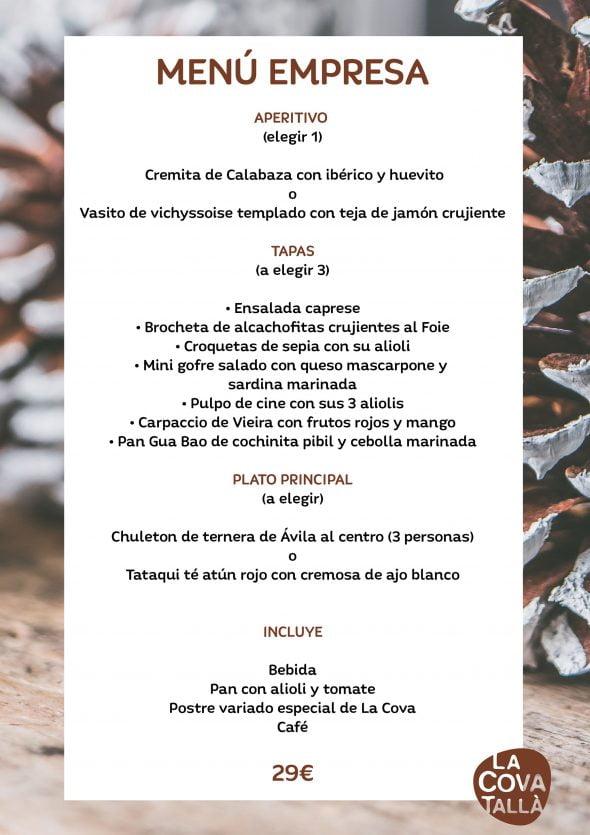 Imagen: Menú de empresa con entrantes y plato principal a elegir por 29 euros - La Cova Tallà
