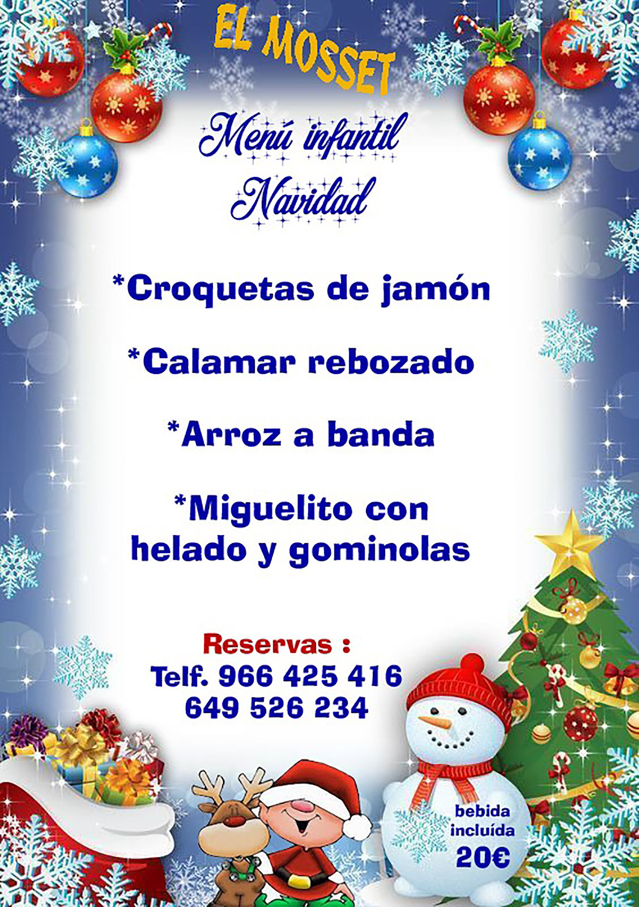 Christmas children's menu - El Mosset