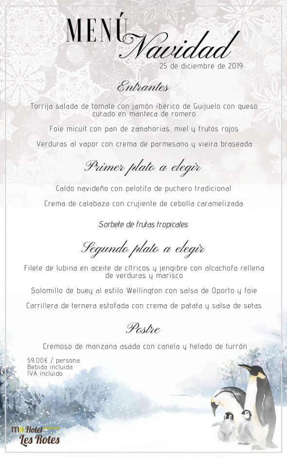 Imagen: Menú para el Día de Navidad - Hotel Les Rotes