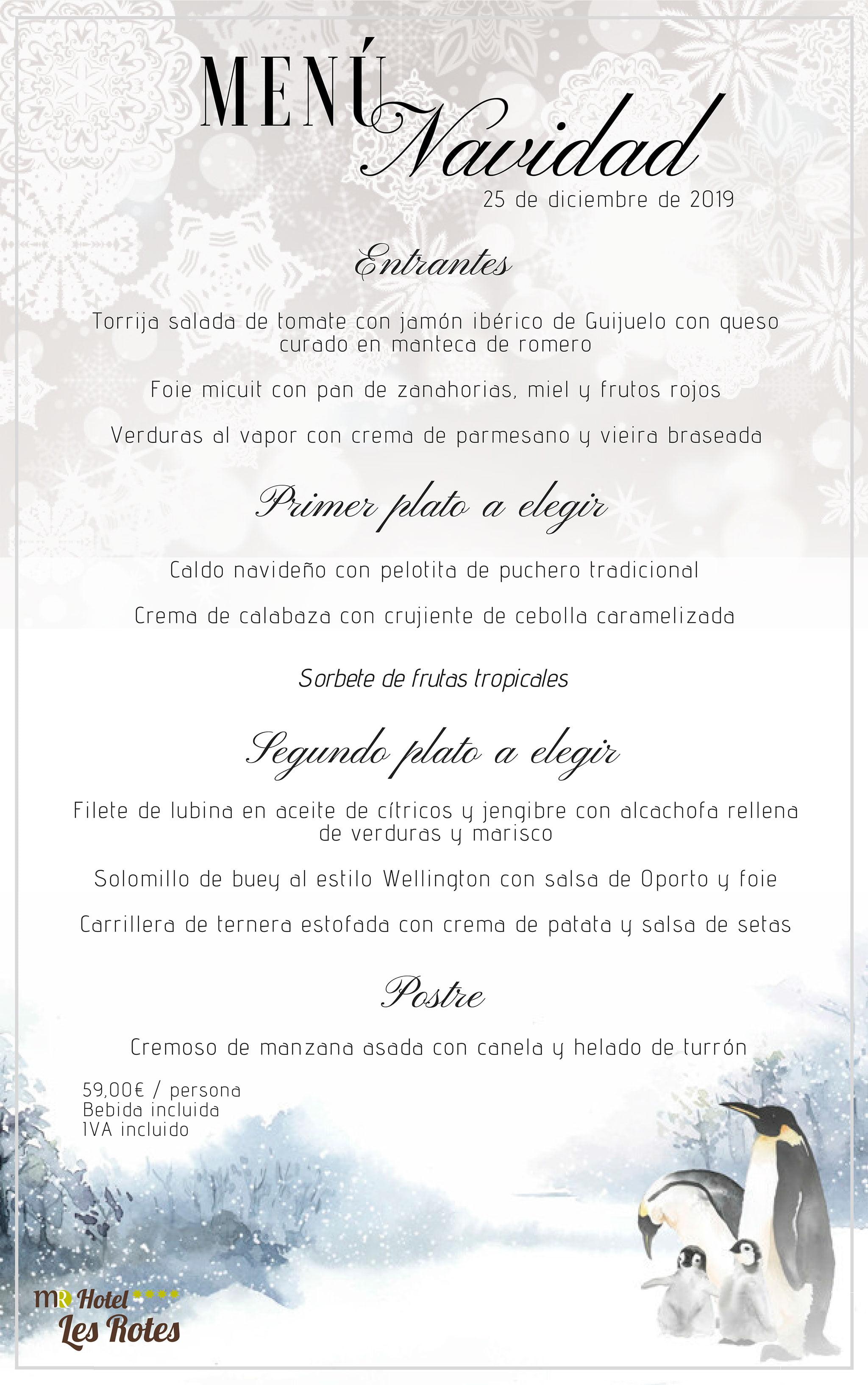 Menú per al Dia de Nadal - Hotel Les Rotes