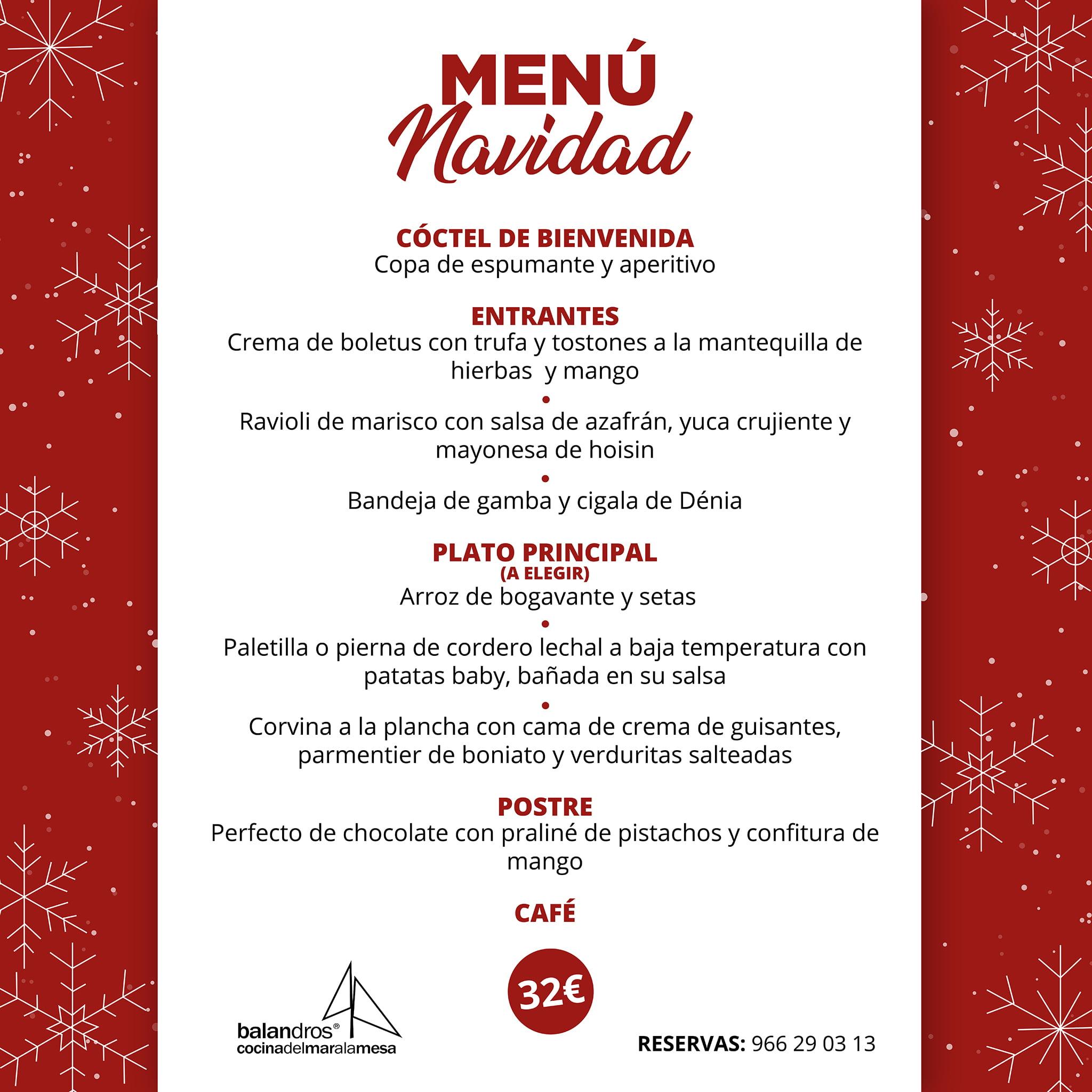 Menú de Navidad en Restaurante Balandros